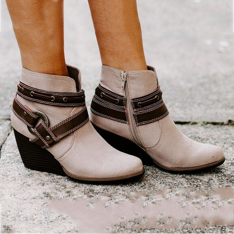 Zipper Wedge Heel Boots Round Toe Ankle Booties