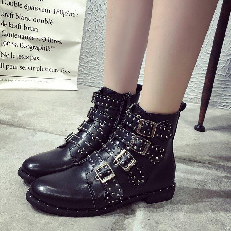 Black Motorcycle Style Rivet Buckle Ankle Boots