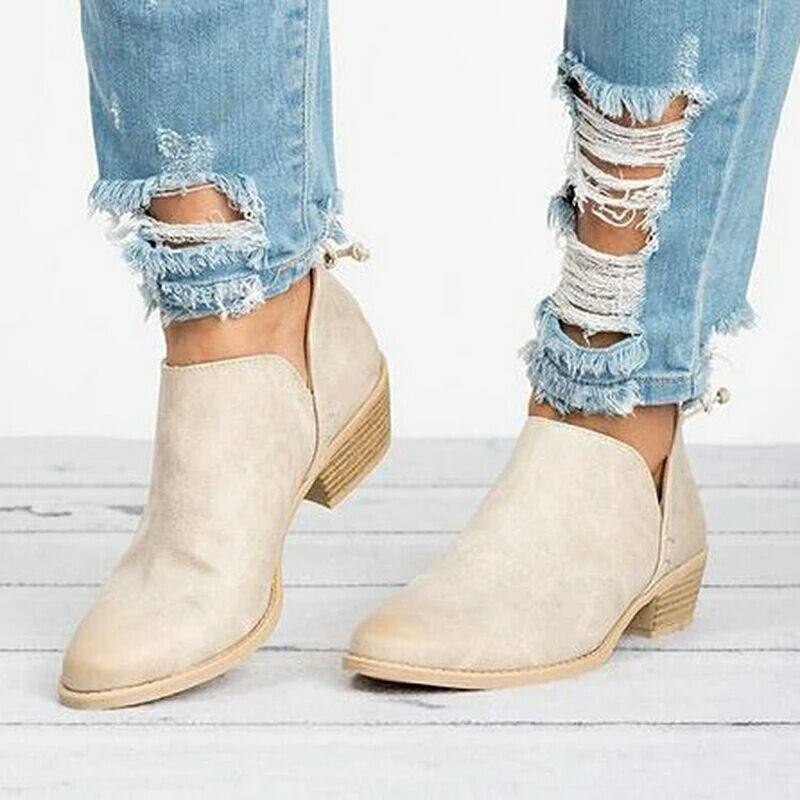 Artificial Leather Point Toe Side Cut Medium Chunky Ankle Booties
