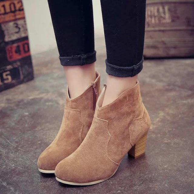 Flocking Side-Zipper High Chunky Ankle Booties