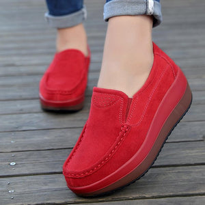 Flocking Solid Elastic Rubber Slip-On Wedges Solid Shoes