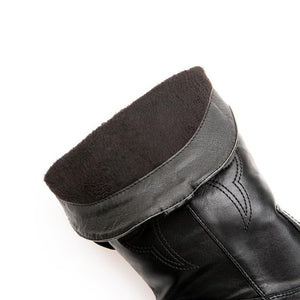 Point Toe Solid Medium Chunky Mid-Calf Boots