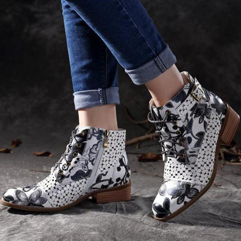 Floral Print Point Toe Low Heels Buckle Lace-Up Ankle Boots