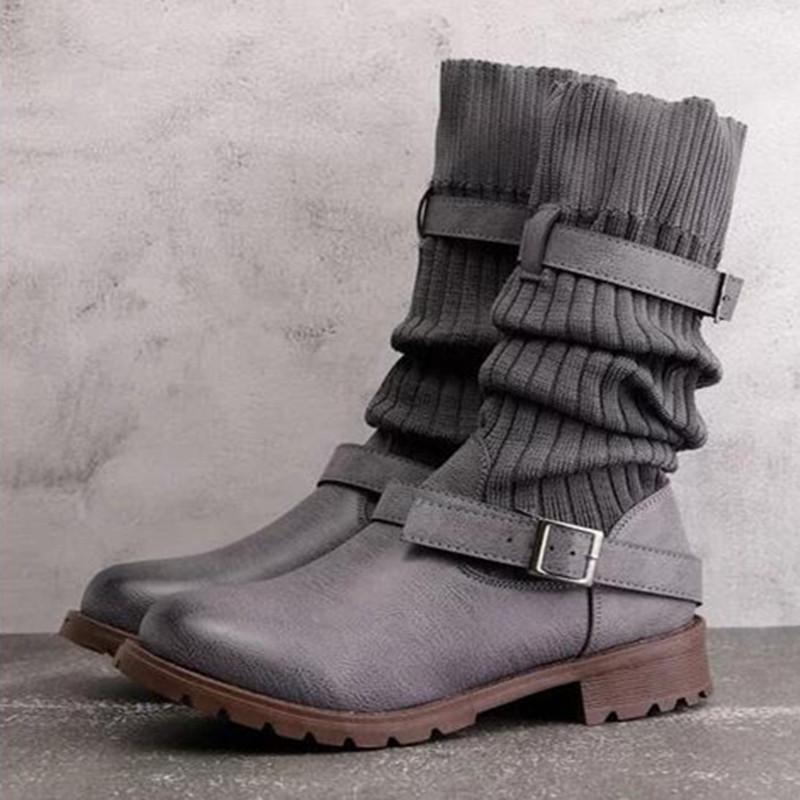 Round Toe Sweater Knit Splice Buckle Vintage Mid-Calf Boots