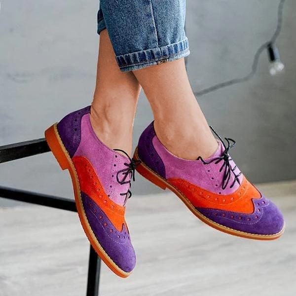 Color Block Lace-Up Laser Cut Chic Low Heels Broque Shoes