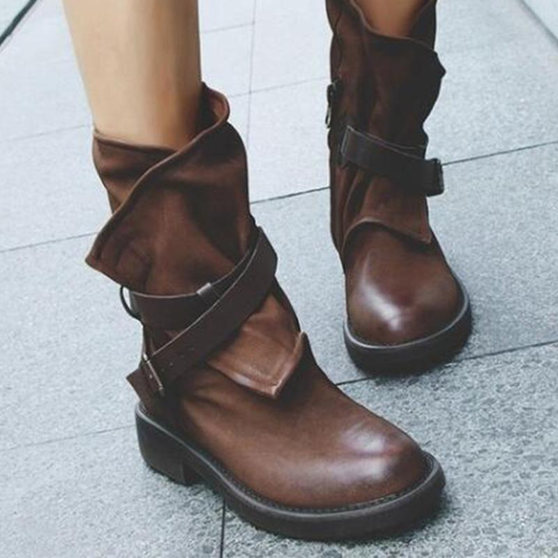 Vintage Buckle Round Toe Low Heels Mid-Calf Boots