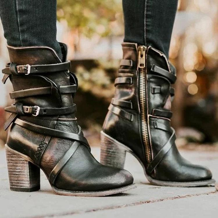 Vintage Side-Zipper Buckle High Chunky Heels Boots
