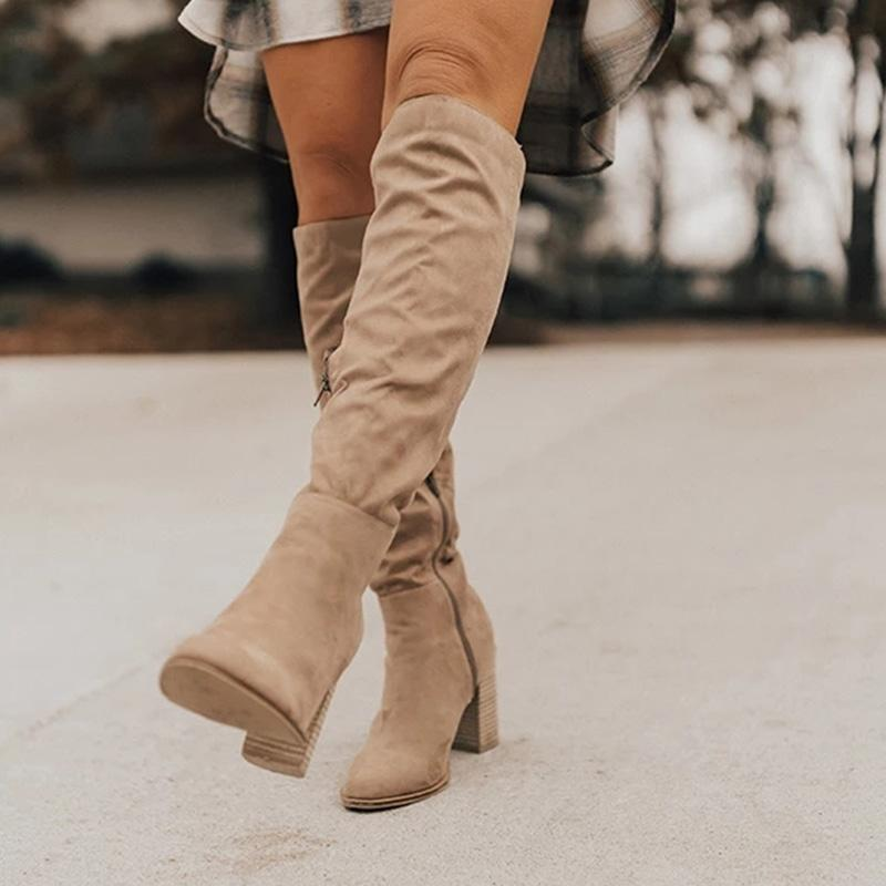 Chic Women High Chunky Heels Solid Zipper Knee High Boots