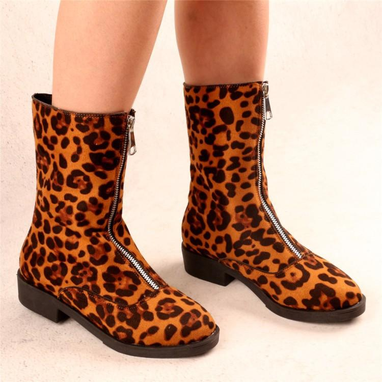 Flocking Center Front Zipper Low Heel Mid-Calf Boots