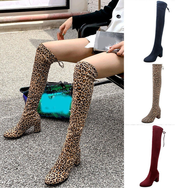 Solid Flocking With Elastic Chunky Heel Lace-Up Back Knee-High Boots