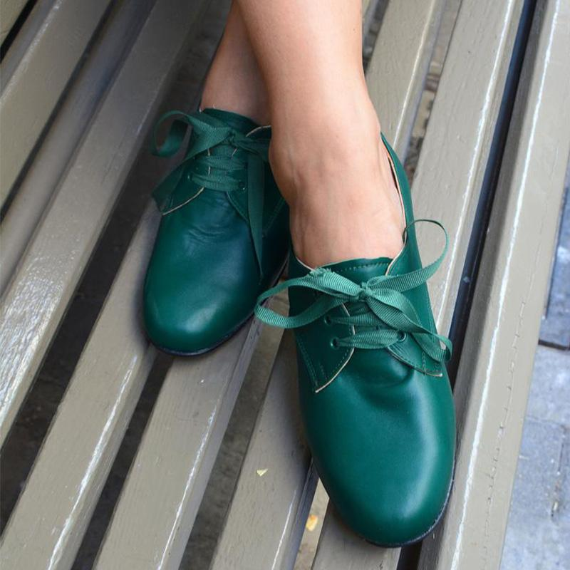 Solid Green Ribbon Lace-Up Low Heels Shoes