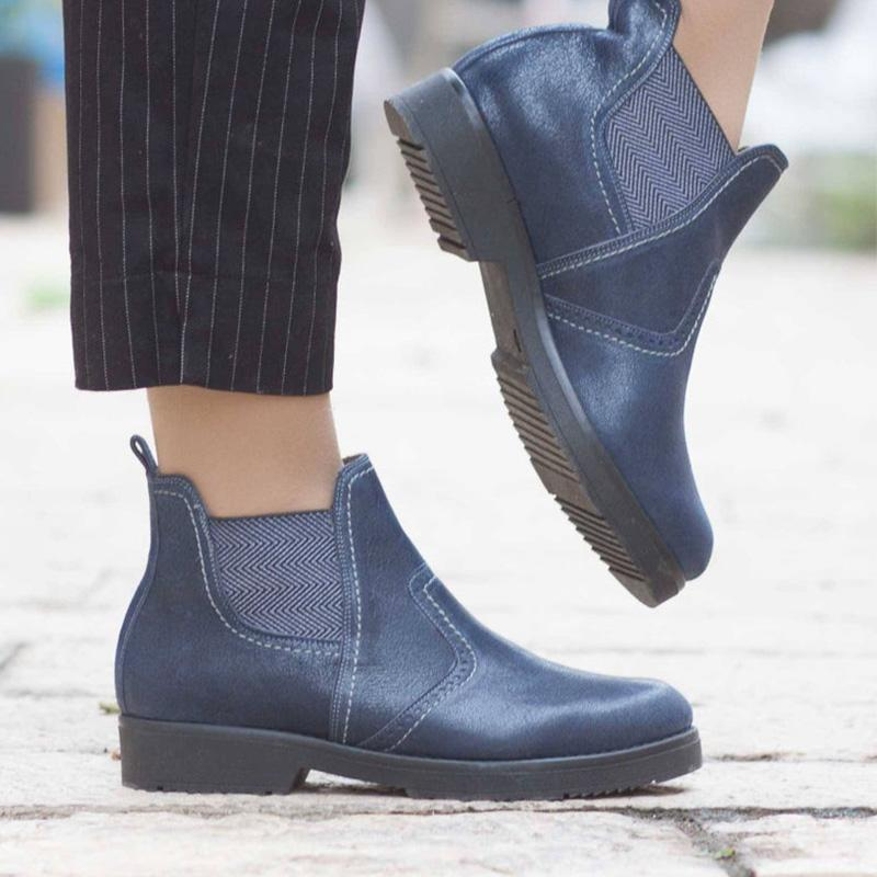 Elastic Rubber Pu Flats Ankle Boots