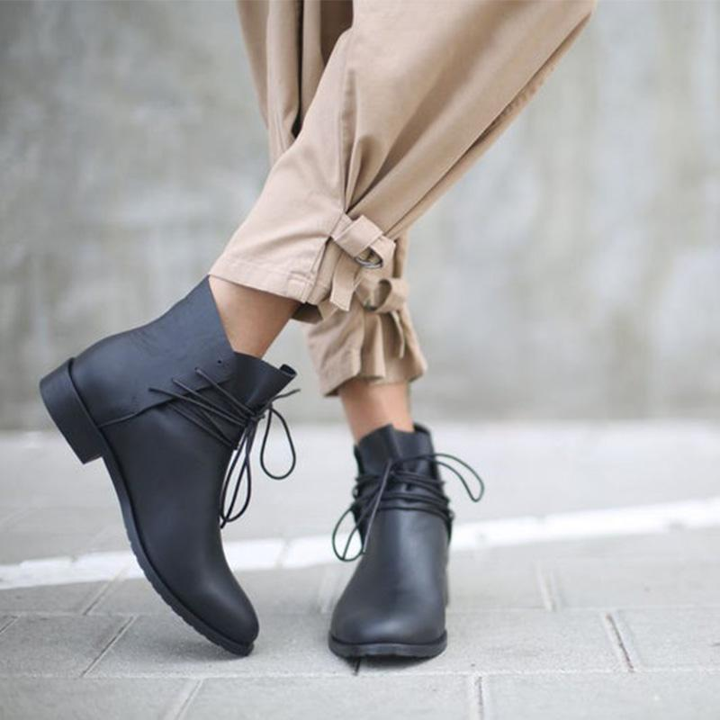 Black Solid Pu Handmade Lace-Up Ankle Booties