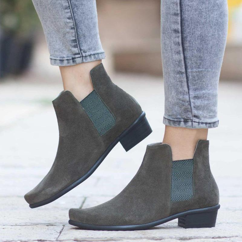 Flocking Elastic Rubber Slip-On Ankle Booties