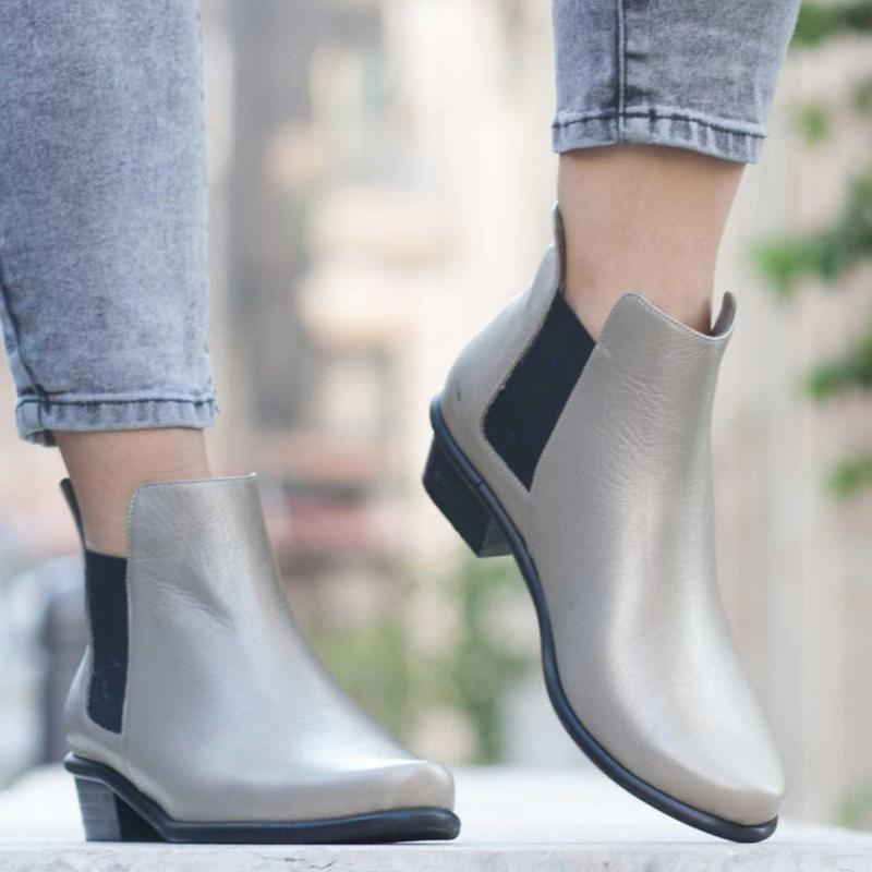 Pu Color Block Rubber Slip-On Booties