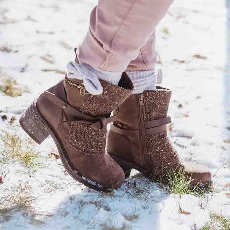 Women'S Casual Stitching Sequin Knit Belted Buckle Boots
