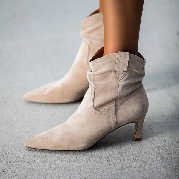 Solid Faux Suede Heeled Scrunch Booties