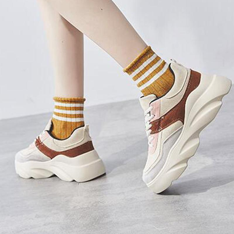 Flocking Splice Lace-Up Med Heels Fashion Sneakers