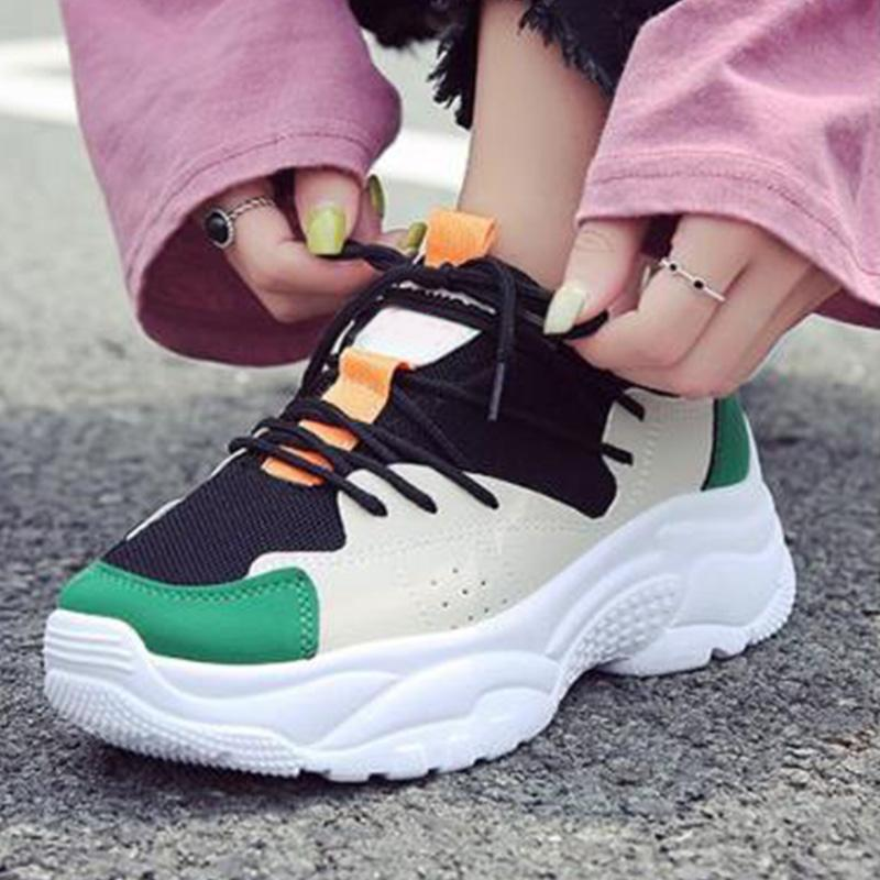 Multicolor Pu/Cloth Splice Lace-Up Sport Shoes