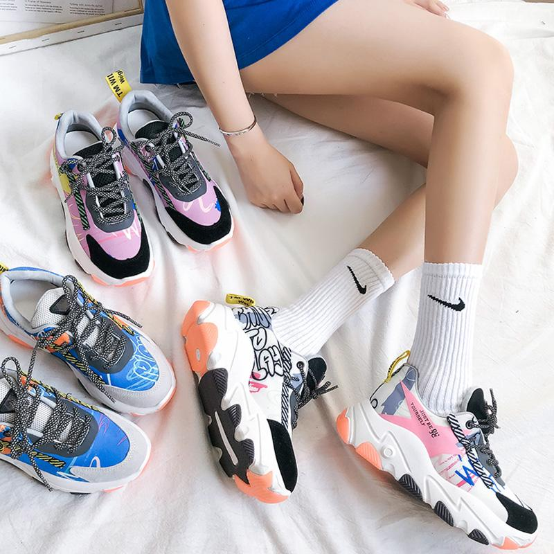Fashion Lace-Up Printed Sport Clunky Shoes