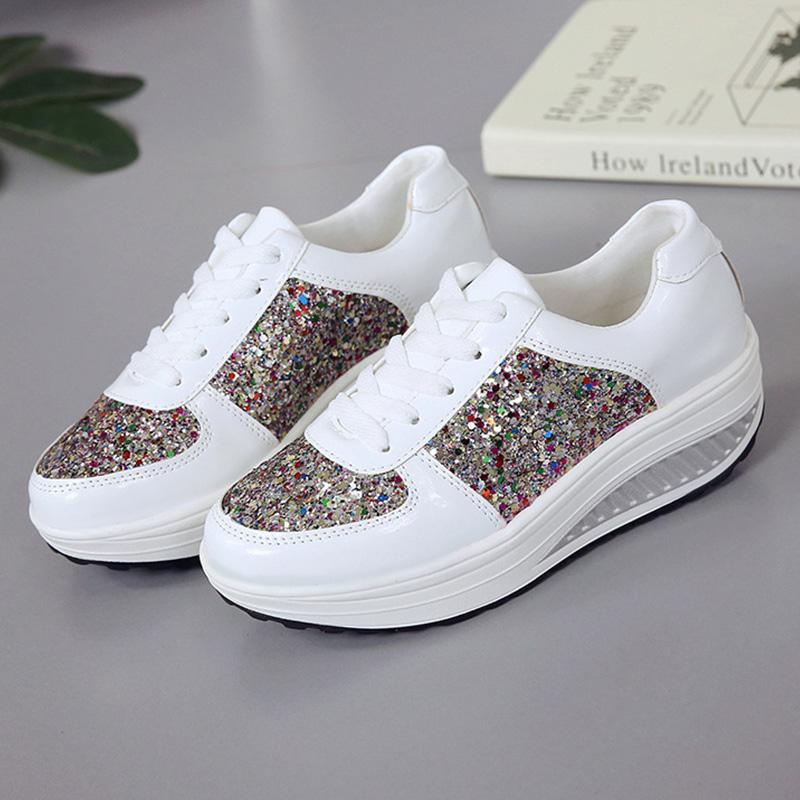 Multicolor Sequin Lace-Up Pu Sport Style Sneakers