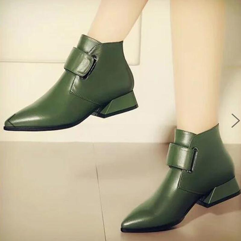 Chic Pu Point Toe Wide Tape Chunky Ankle Boots