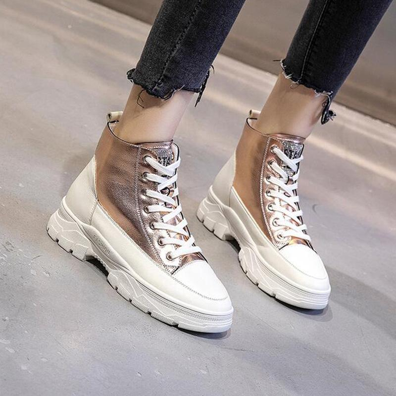 Chic Shiny Pu Splice Low Platforms Ankle Boots
