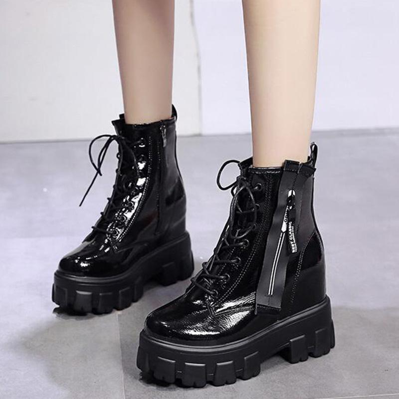 Reflective Pu High Platforms Lace-Up Side-Zipper Ankle Boots