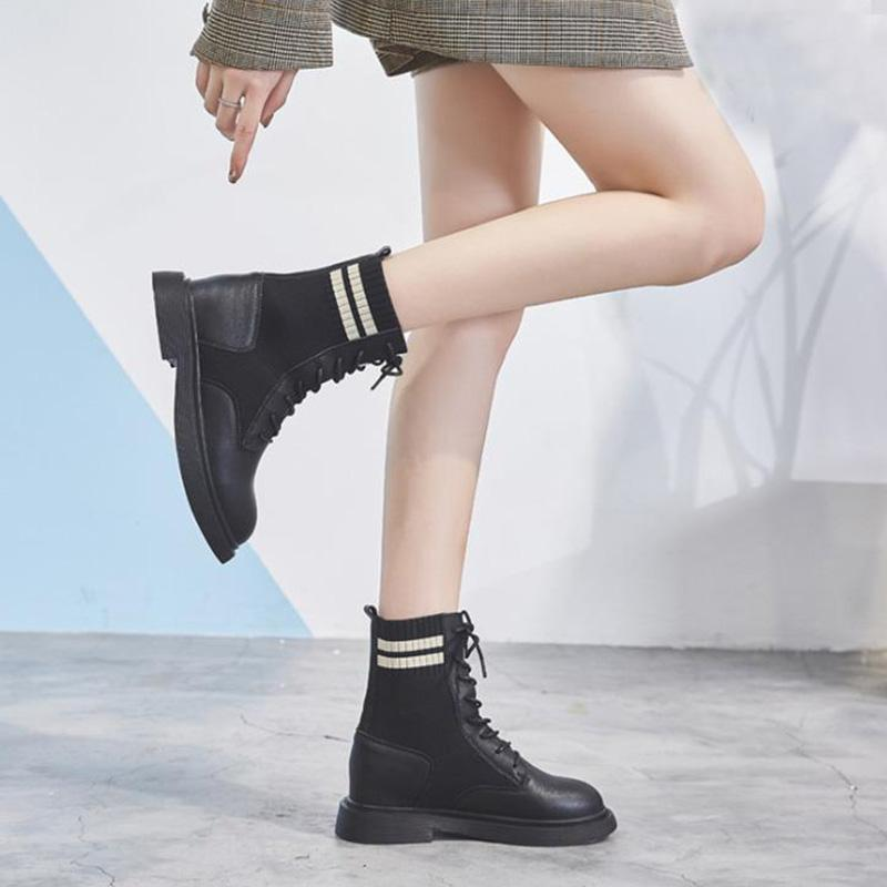 Splice Rib Knit Lace-Up Pu Ankle Booties