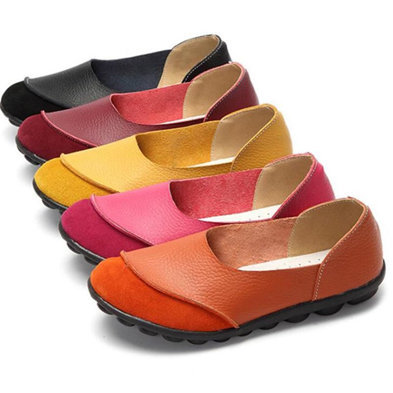Flocking Leather Round Toe Comfy Mommy Shoes