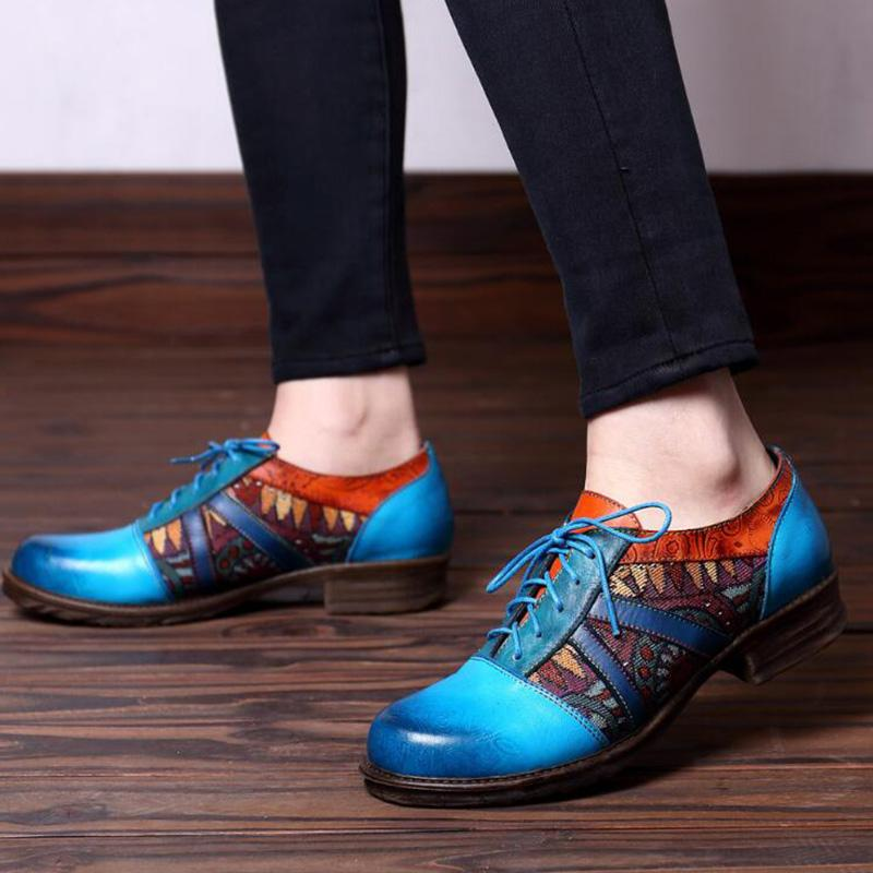 Royalblue Vintage Style Leather Lace-Up Flats Shoes