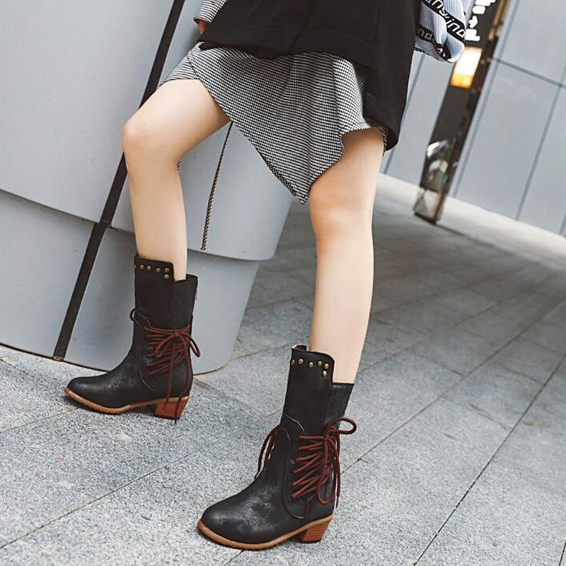Pu Rivet Trim Crisscross Lace-Up Side Vintage Mid-Calf Boots