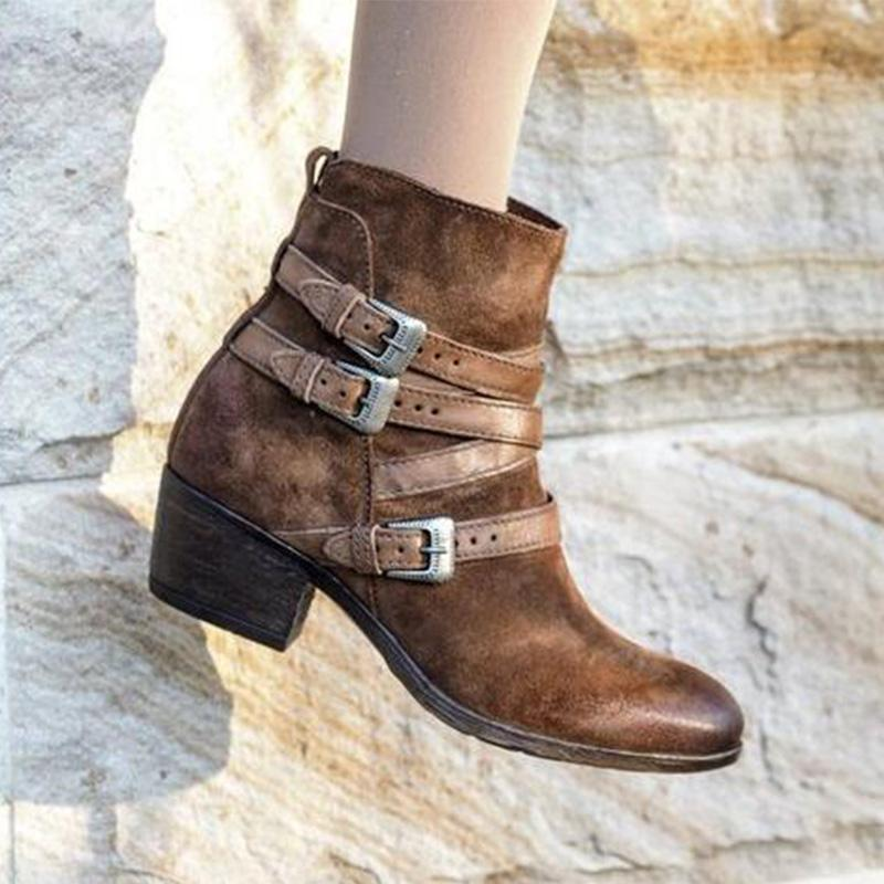 Buckles Round Toe Side-Zipper Chunky Med Heels Ankle Booties