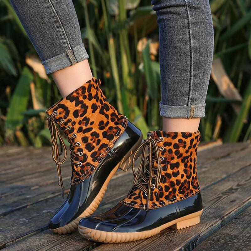 Leopard Print Splice Pu Lace-Up Low Heels Martin Boots