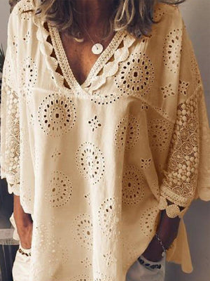 Hollow Crochet Women V Neck Blouse