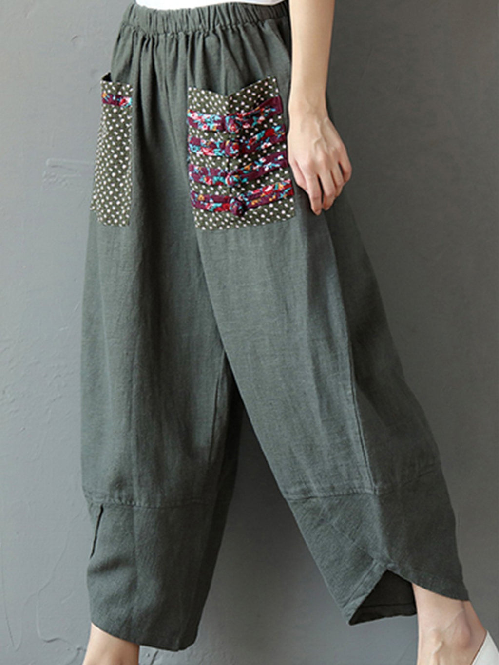 Army Green Cocoon Shirred Casual Pants