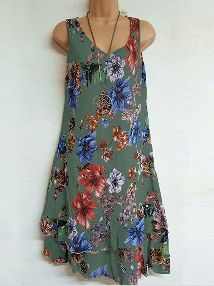 Casual Floral Print Sleeveless V Neck Dresses Tank
