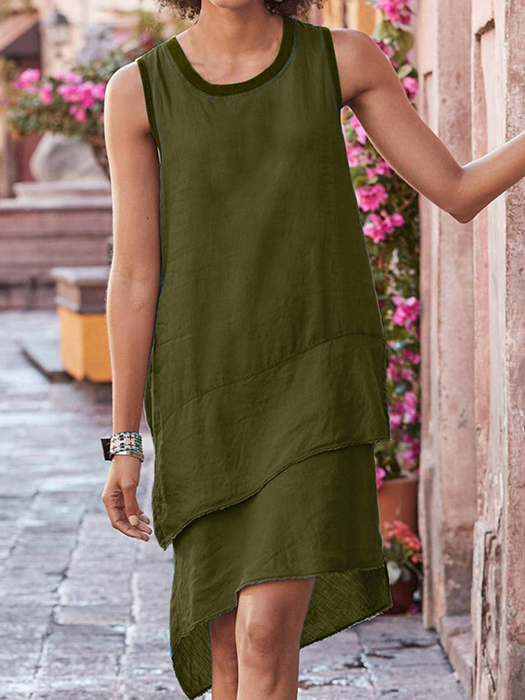 Sleeveless Round Neck Paneled Layeren Hem Linen/Cotton Dress