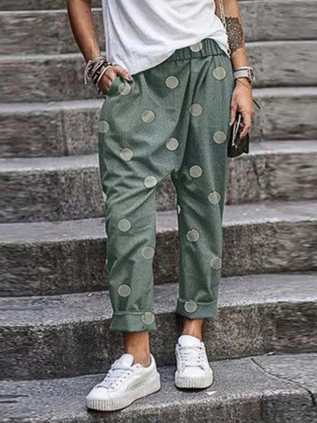 Plus Size Polka Dot Print Casual Haren Pants