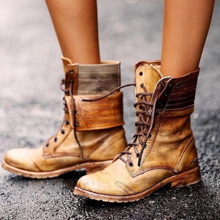 Vintage Distress Lace-Up Tube Low-Heels High Ankle Boots