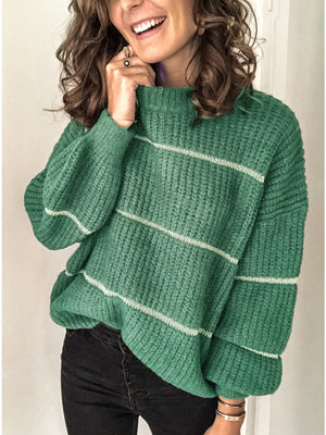 Casual Crew Neck Long Sleeve Stripe Loose Knit Sweater
