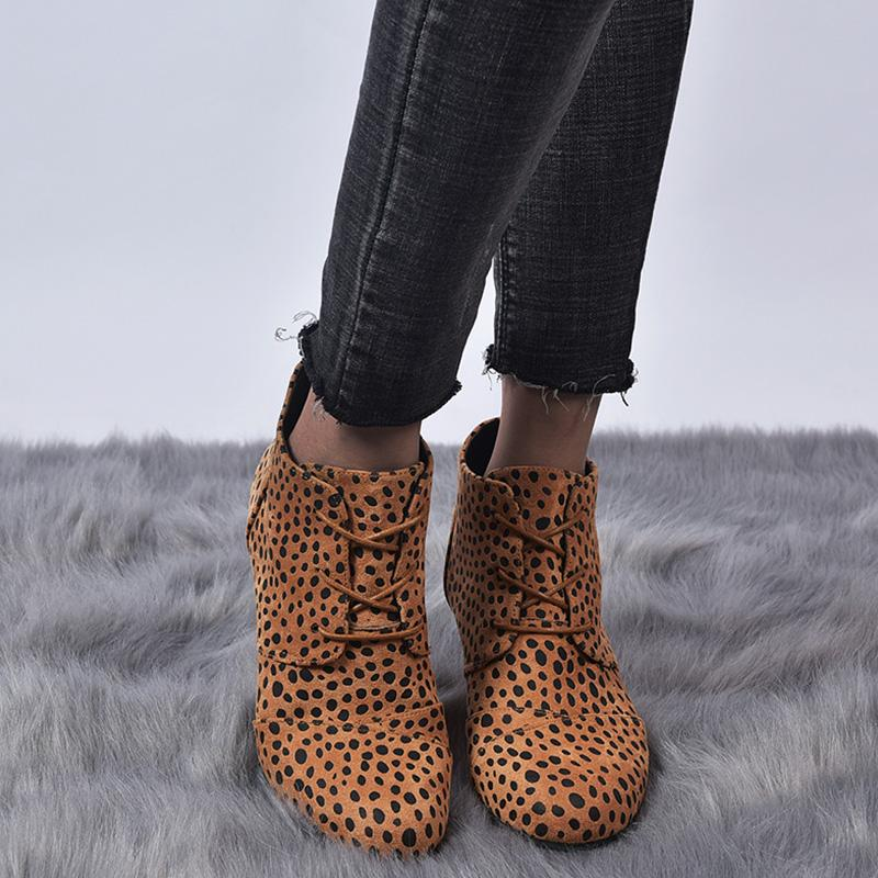 Leopard/Solid Front Lace-up Wedge Heel Boots