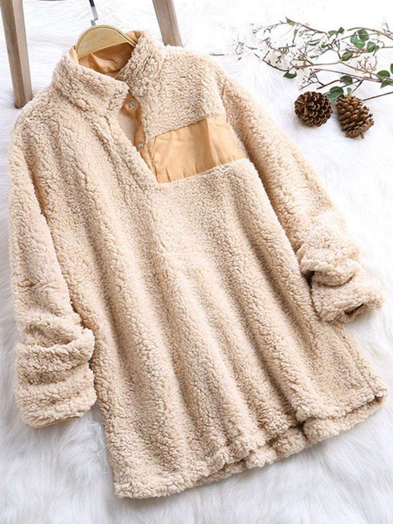 Plus Size Long-Sleeved V Neck Stand Collar Fluffy Blouse