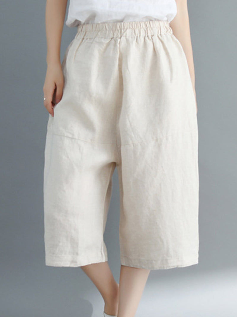 Pure Color Wide-leg Three-quarter Length Pants