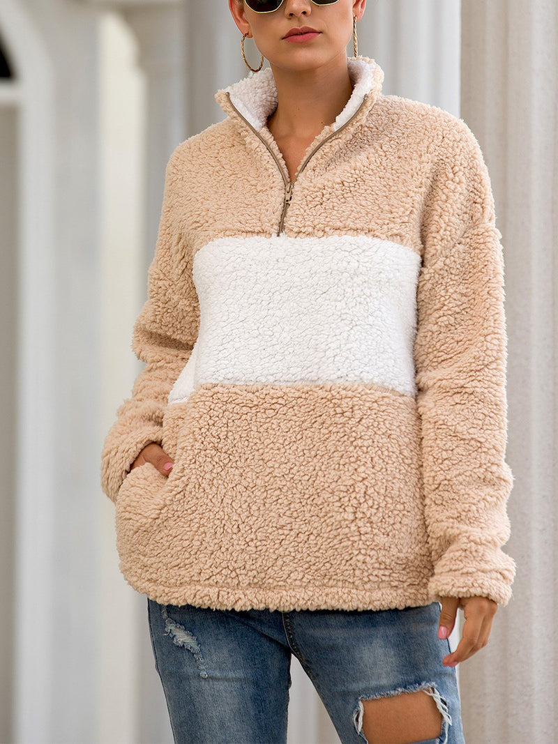 Color Block Splice Zipper Neck With Pocket Long-Sleeved Fluffy Sweatshirt