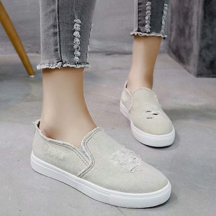 Washed Denim Students Casual Lofters Flats