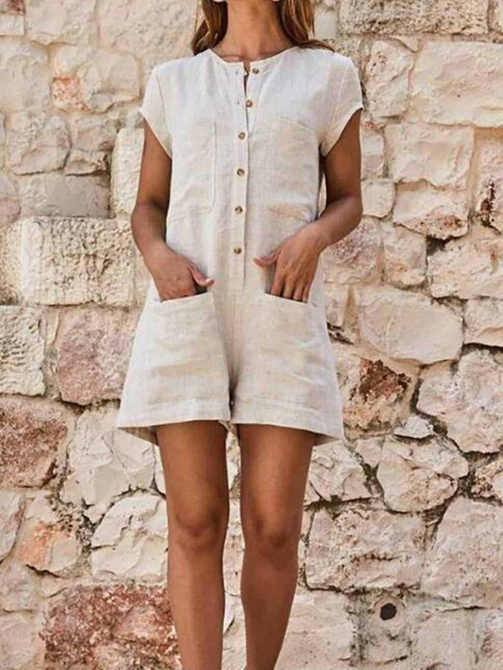 Solid Short Sleeve Casual Romper Jumpsuits