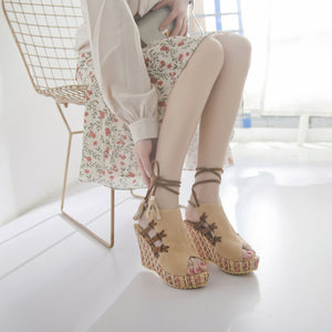 Staw Weaving Wedges Ankle Lace-up Sandals
