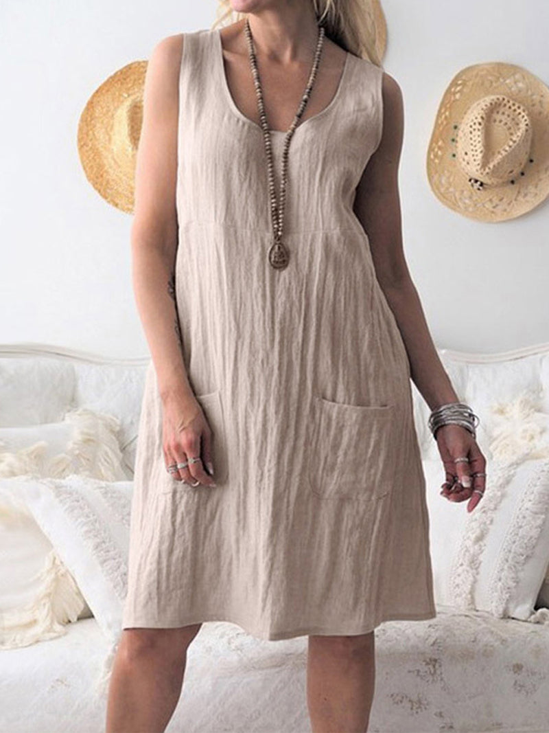 Shirring Solid Linen/Cotton Patch Pocket Sleeveless Dress