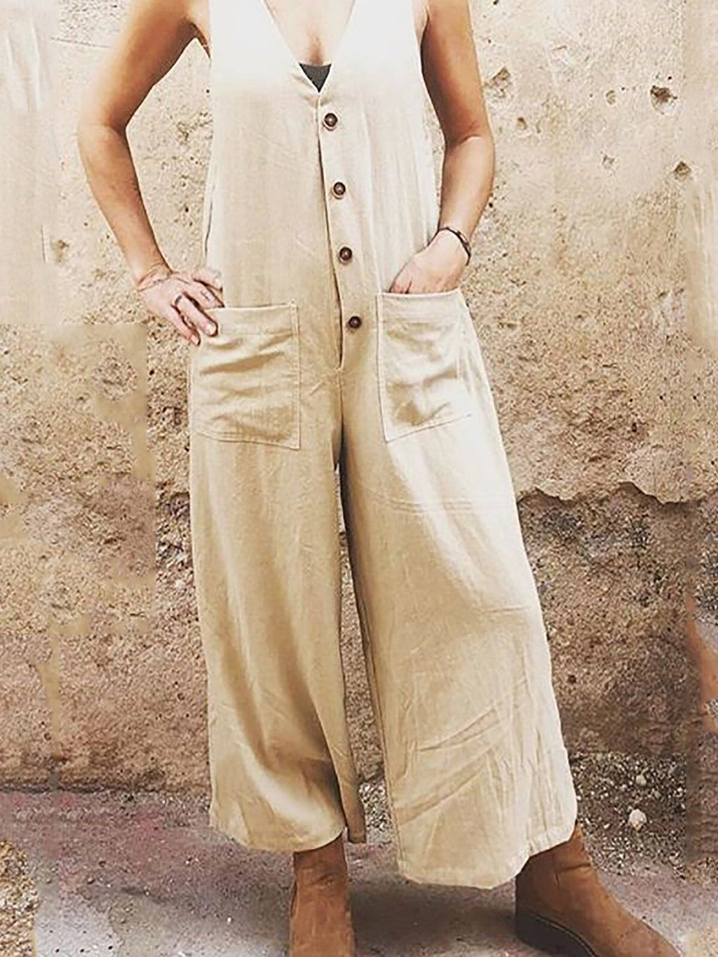 Linen/Cotton Loose Sleeveless Casual Pocket Buttoned Full-Length Jumpsuits